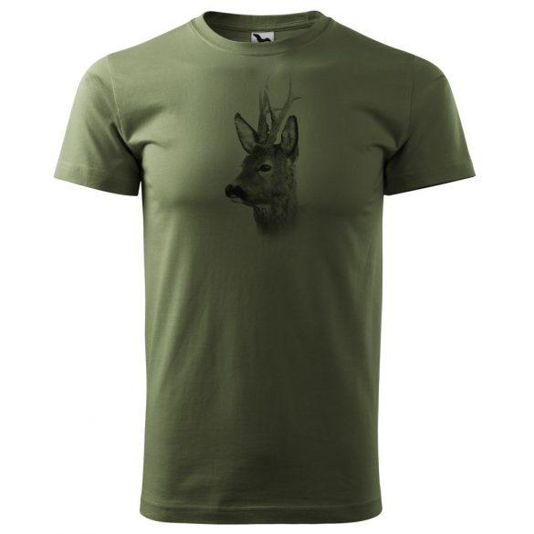T-Shirt mit schwarzem Rehbockporträt