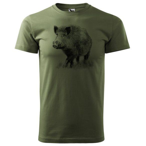 T-Shirt mit schwarzem Wildschweinmotiv