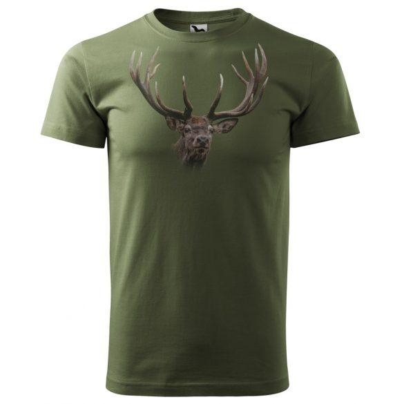 T-Shirt mit buntem Hirschkopf