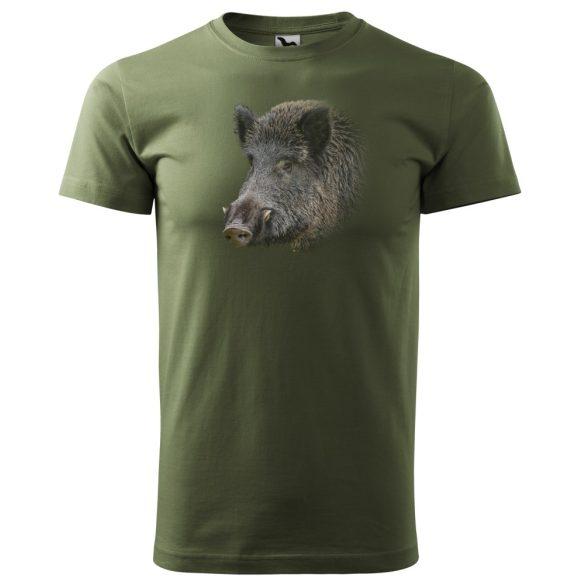 T-Shirt mit buntem Wildschweinkopf